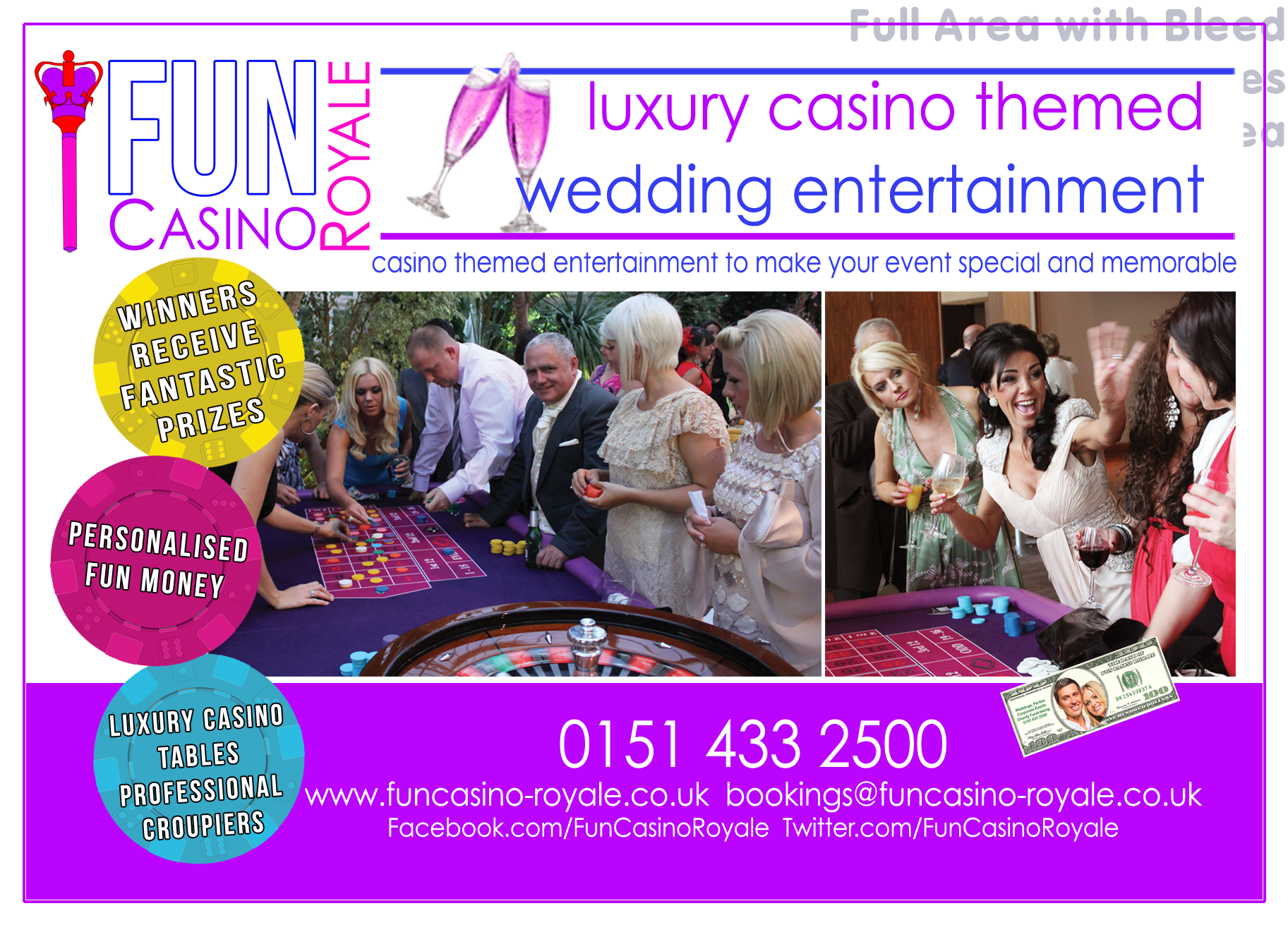 Luxury Casino Tables. We bring the Ultimate Casino Experience to you. Perfect for Weddings, Corporate Events, Parties & Fundraising Charity Events 0151 433 2500