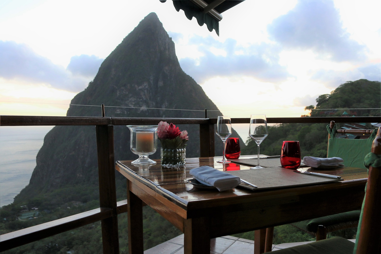 Dasheene at Ladera Saint Lucia romantic piton view