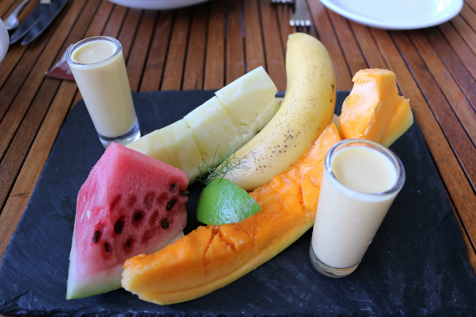 Boucan Hotel Chocolat St Lucia breakfast fruit platter tropical