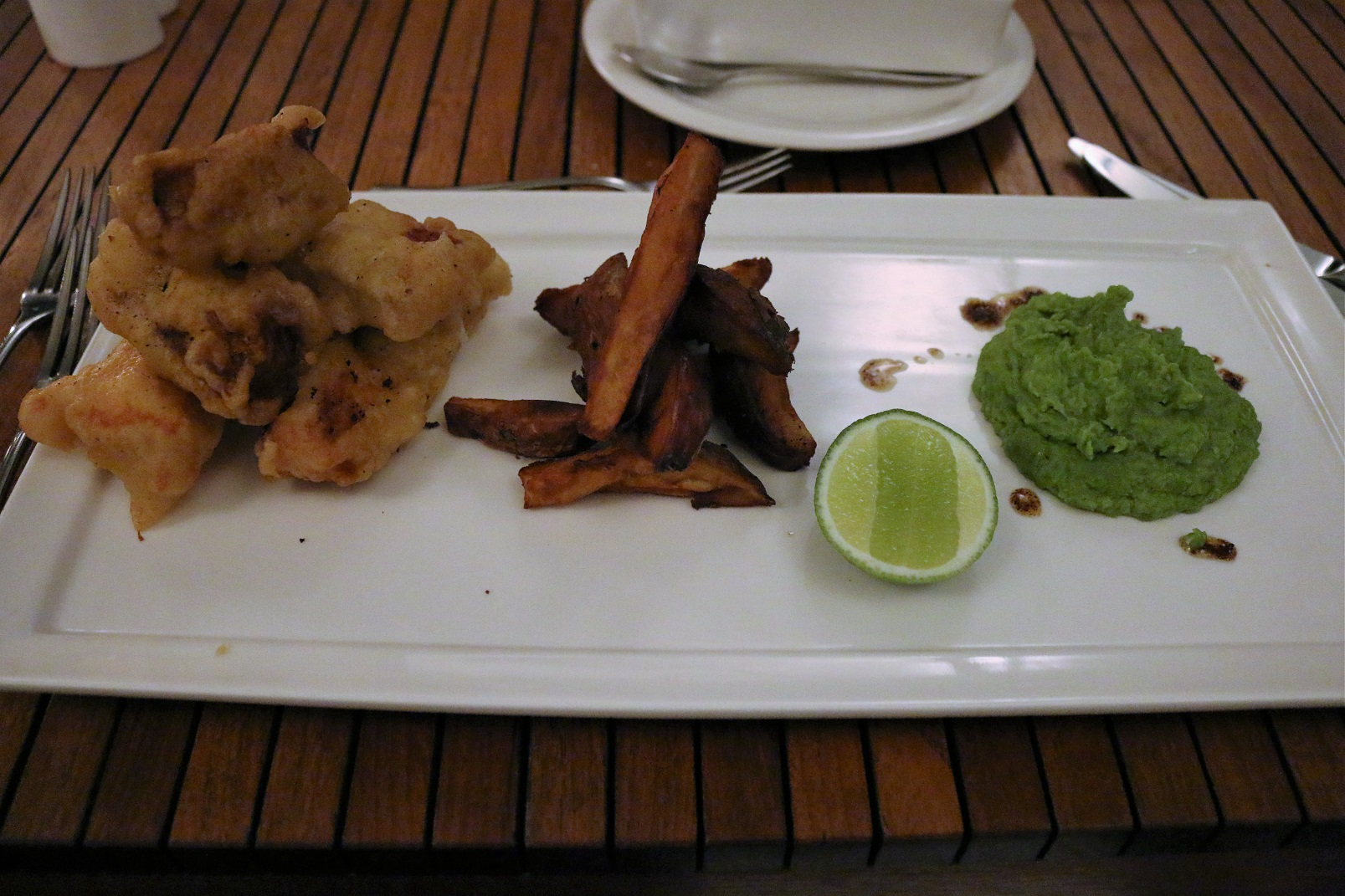 Boucan Hotel Chocolat St Lucia fish and chips mushy peas