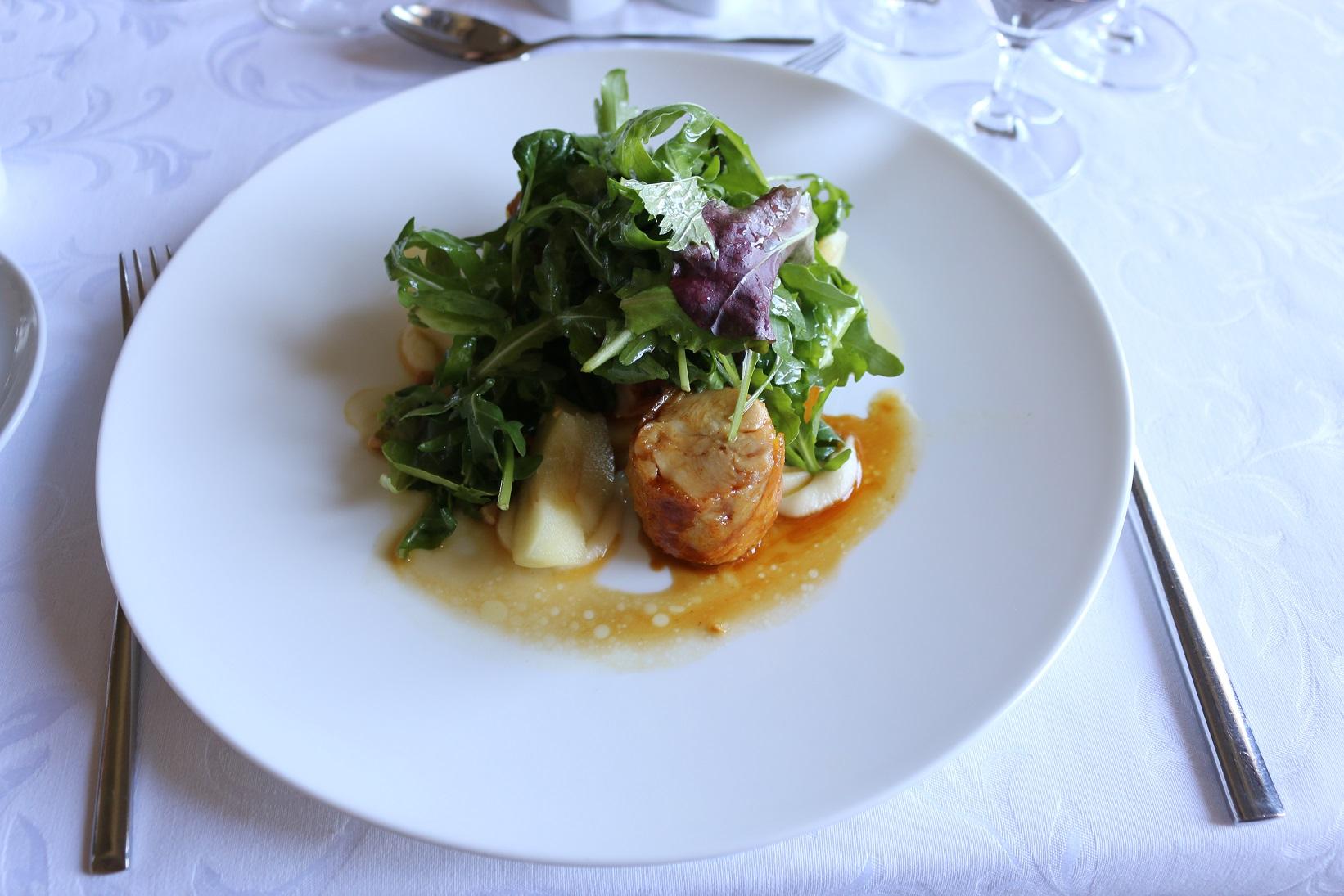 Halaszbastya Restaurant warm apple salad chicken