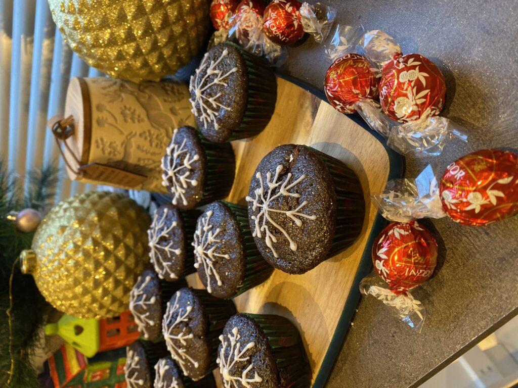 Lindt chocolate cupcakes snowflake